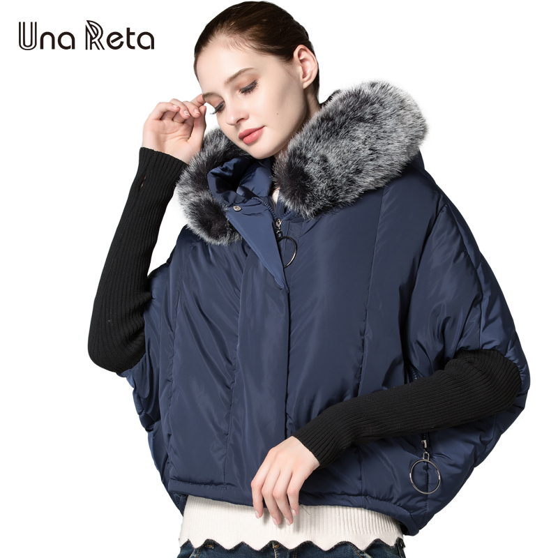 Una Reta Female Jacket 2017 Autumn Winter New Bat Sleeved Woman Cotton Parka Coat With Fur Hooded Leisure Women's Coat Jackets