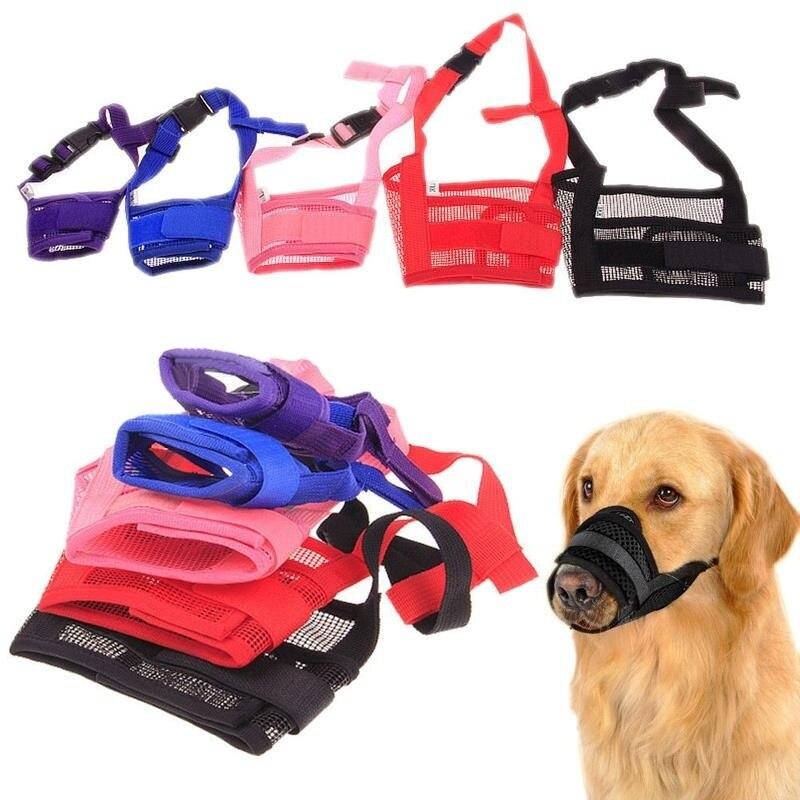 1PC Mesh Breathable Muzzles Small Large Dog Mouth Muzzle Anti Bark Bite Chew Dog Training Product Pet Dog Adjustable Mask