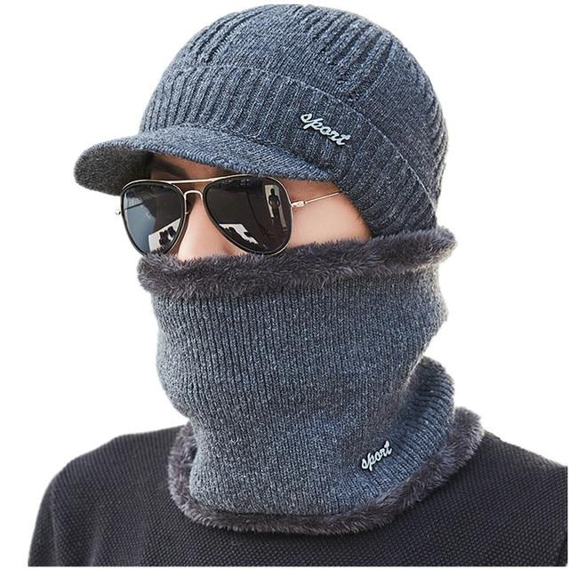 BINGYUANHAOXUAN Mens חורף חם לסרוג צמר פנים מסכת כובע כפת כובע בחוץ רכיבה מסכת צעיף כובע סקי כובע