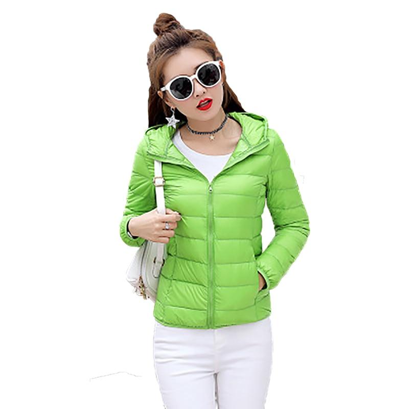 Women   Down   jacket 90% white duck   down     Coat   2018 winter New Female short   coat   fashion hooded   down   Light thin Slim jacket YP0827