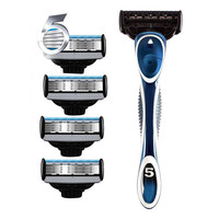 5pcs Razor Blades With 1pc Shaving Handle For Men S Face Care Hair Removal Quality Manual