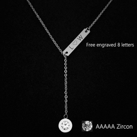 Customize Name Necklace Bar Pendant Necklace Can Engrave Word Letters Fashion Monogram Silver Necklace Dropshipping