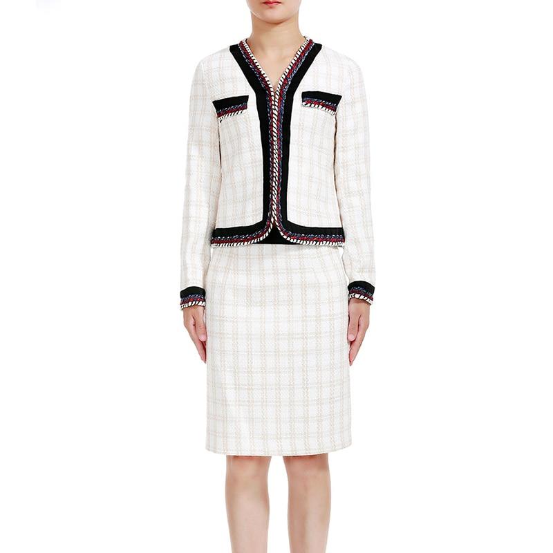 Высококачественные Женские комплект из 2 предметов взлетно посадочной полосы дизайнер люксовый бренд плед куртка с длинным рукавом Высока
