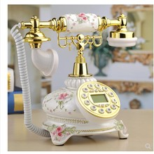 hands-free Double bell classical hotel vintage telephone home fixed antique phone vintage wireless telephone Redial Dial Rotary european antique telephone set classical rotary dial telephone resin classical telephone
