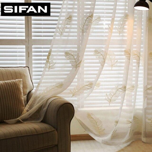 nieuwe witblauw veer geborduurde voile gordijnen woonkamer de slaapkamer vitrages tule gordijnen stof gordijnen