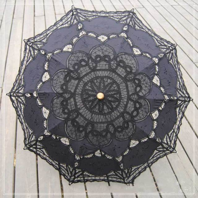 2016 Moda Pano de Algodão Decoração de Dança do Guarda-chuva de Casamento Fotografia Props Preto Guarda-chuva Do Bordado Artesanal de Rendas Guarda-chuva