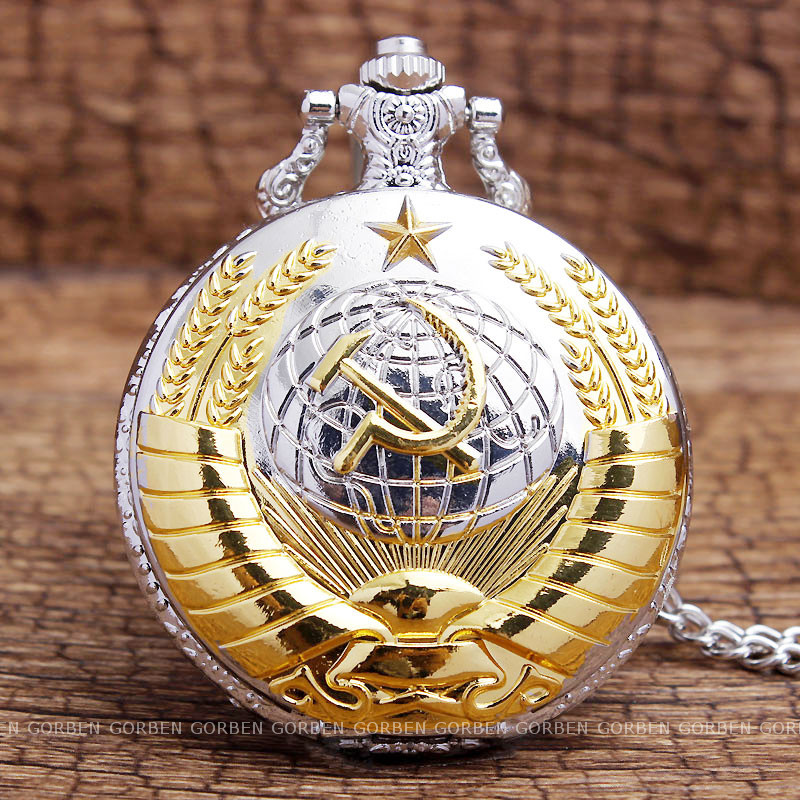 Vintage USSR Soviet Badges Sickle Hammer Pocket Watch Necklace Bronze Pendant Chain Clock CCCP Russia Emblem Communism Men Women 12