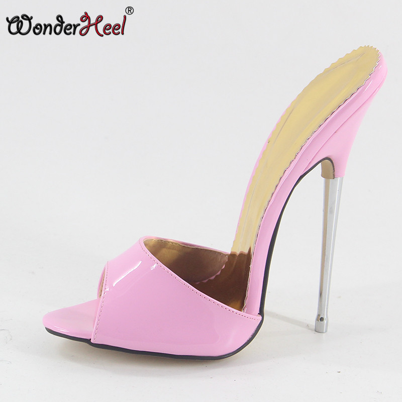 Wonderheel super high heel appr 16cm stiletto heel pink patent Sexy High Heel sandals slip on