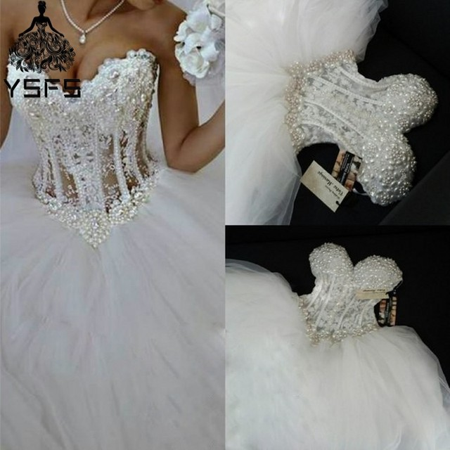 450af6fe3b4b Luxurious Bling Sweetheart Ball Gown Strapless Wedding dresses Corset Bodice  Sheer Bridal Crystal Pearl Beads Rhinestones Tulle