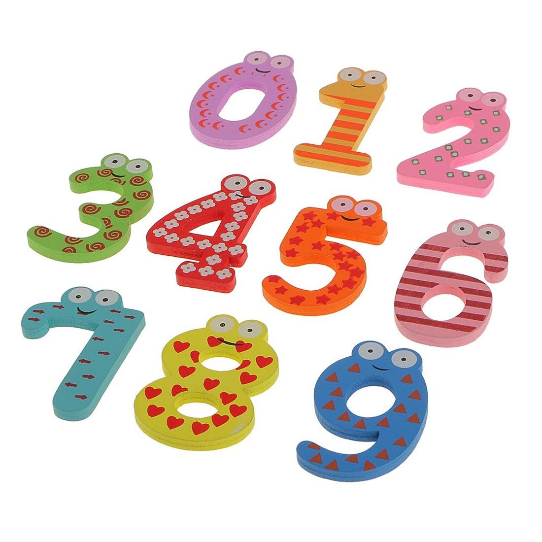 0-9 Cijfers Magneet Cartoon Arabische Cijfers Magnetische Sticker Baby Kids Fun Educatief Speelgoed Houten Gift 10 Pcs