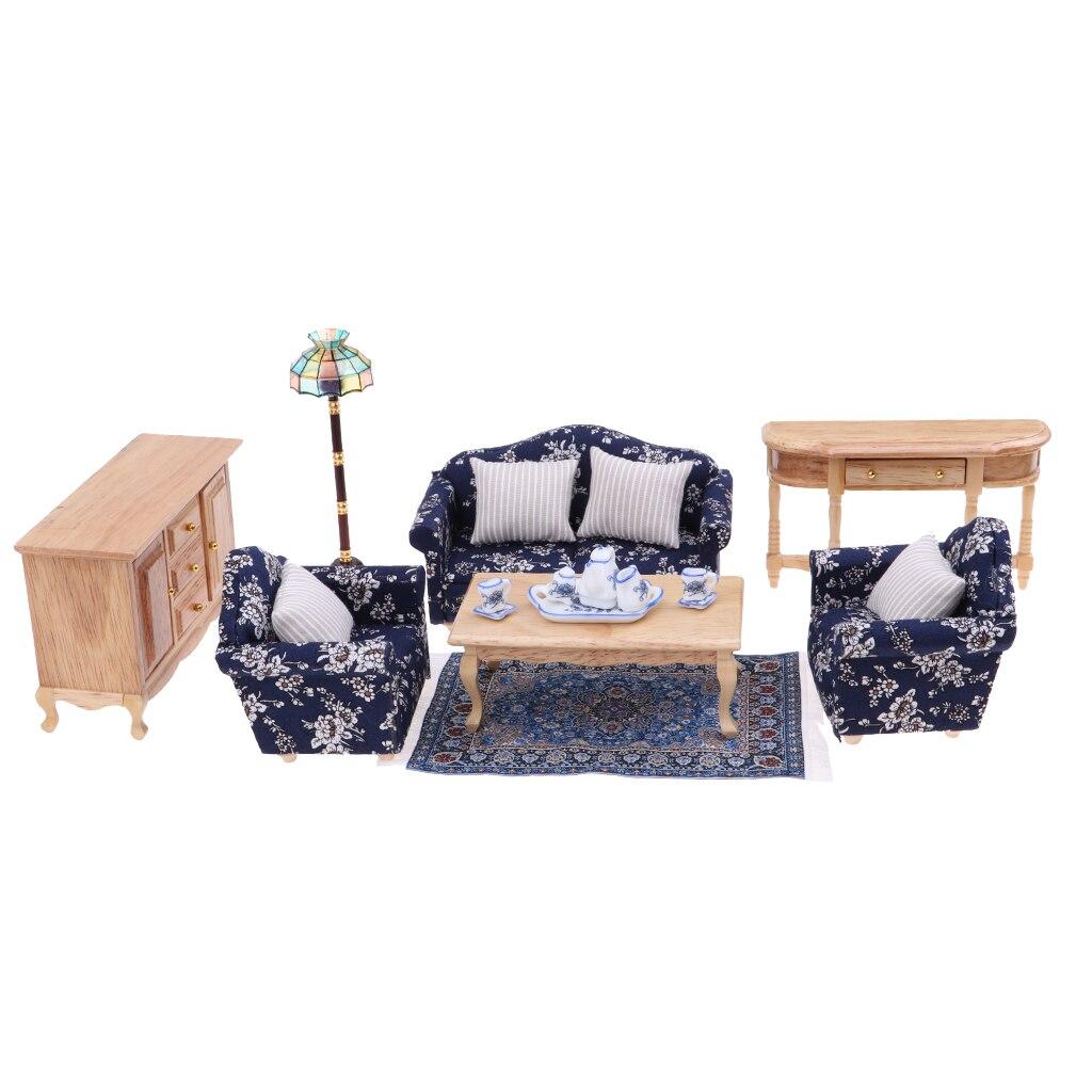 cool 12 scale dollhouse living room set | Handmade 1/12 scale Dollhouse Living Room Furniture Floral ...