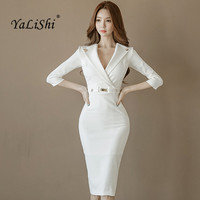 YaLiShi Big Size 2019 Summer Women Work Dress Work White V neck 3/4 Sleeve Sexy Bandage Midi Pencil Dresses Vestidos De Festa