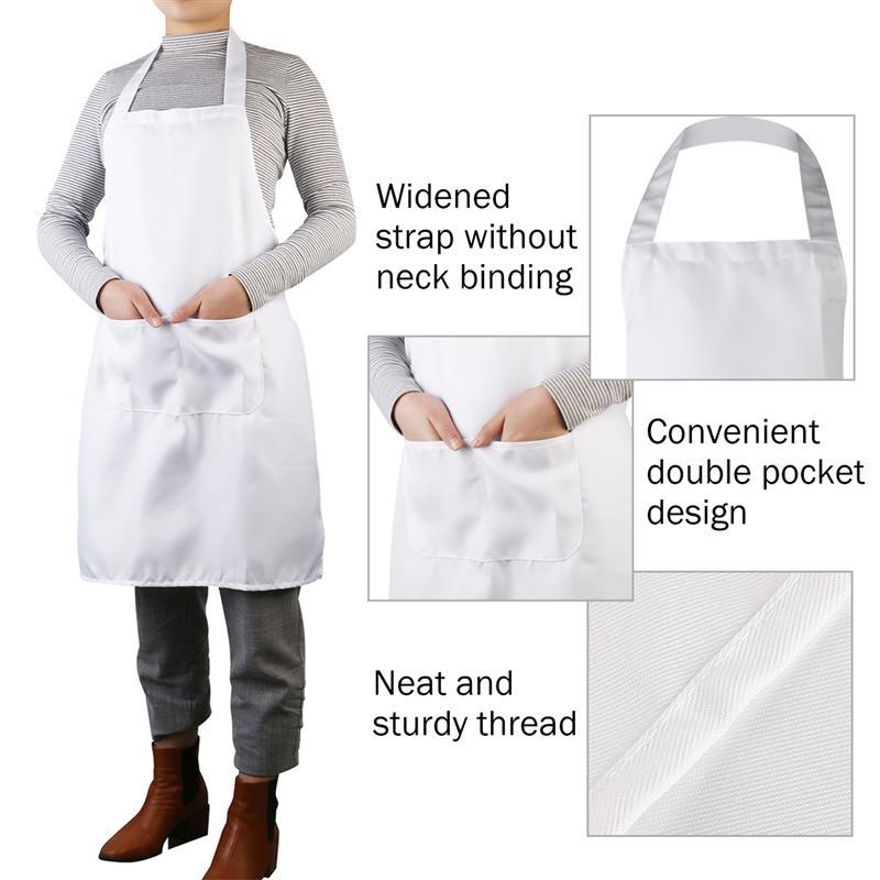 bf7e99121 LUOEM blanco señora mujeres hombres delantal de cuello Halter estilo sin  mangas delantal con bolsillo para cocinar hornear restaurante