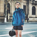 BringBring 2017 Spring Fashion Peacock Feather Embroidery Blue Sweatshirt Women Velvet Turtleneck Pullovers for Autumn 1810