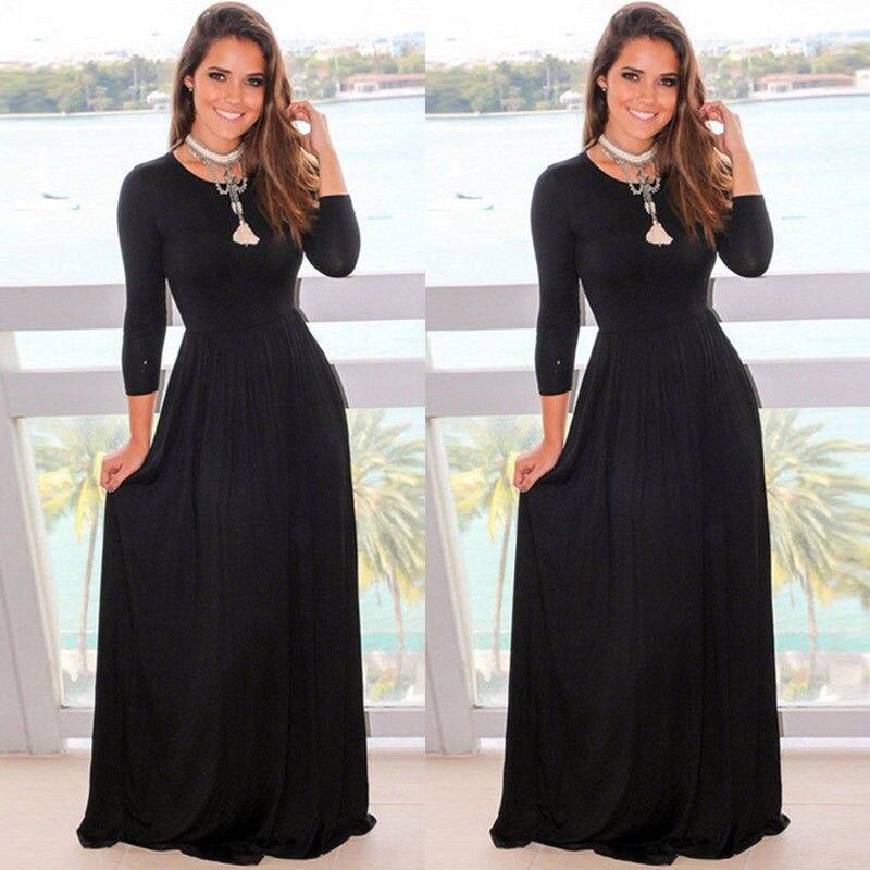 С длинным рукавом Для женщин Макси платье тонкий Высокая талия Дамы Винтаж Вечеринка платье Сарафан