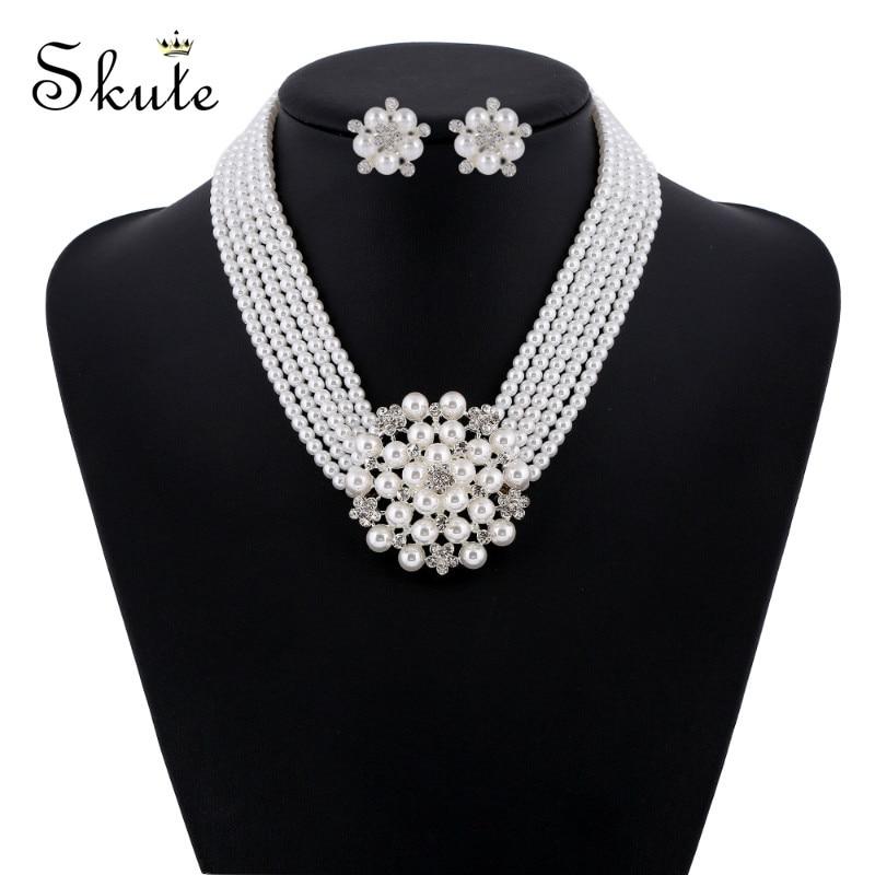 Necklace Set Women Jewelry Wedding Birthday Party Multi-layer Imitation Pearl