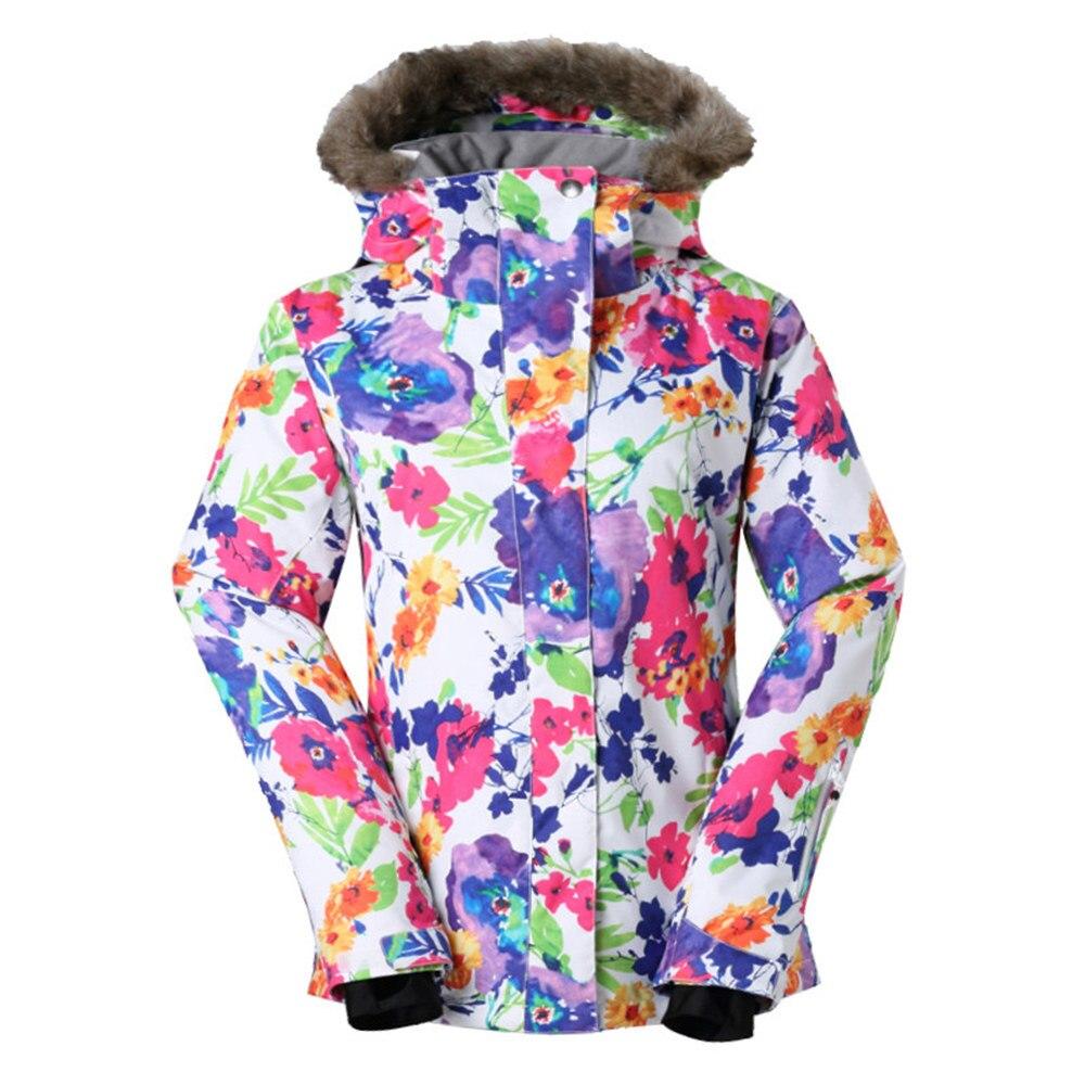 GSOU marca de nieve chaqueta de esquí traje de esquí de las mujeres impermeable Snowboard chaqueta de abrigo de invierno con capucha de piel caliente al aire libre de nieve esquí - 2