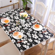 PVC soft glass rectangle plastic coffee table mat waterproof oil-proof tablecloth customize black flower party table decoration europe luxury party tablecloth non slip waterproof table cloth oil proof pvc soft glass plastic table cover coffee table mat