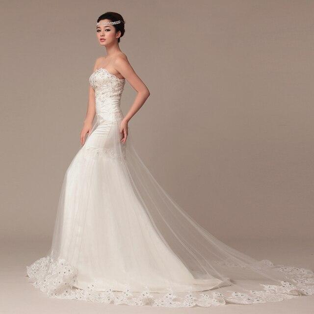 Givlie 2013 slim lace long trailing tail fish diamond vintage elegant