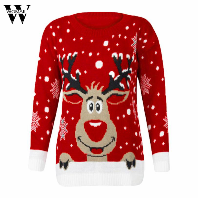 Womail 2017 Women Christmas Deer Sweaters Warm Knitted Long Sleeve Sweater Jumper Top Blouse dec6