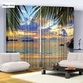 Azul amarillo verde azul púrpura negro playa mar de árboles de palma cielo Del Atardecer Imagen Impresión de la Foto Sala de estar Cortinas Ganchos De Ajuste apagón
