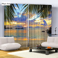 Blue Yellow Green Blue Purple Black Beach Palm Trees Sea Sky Sunset Picture Photo Print Living Room Curtains Set Hooks Blackout