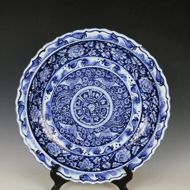 Blue and white phoenix Pattern Big plate porcelain vintage home ...