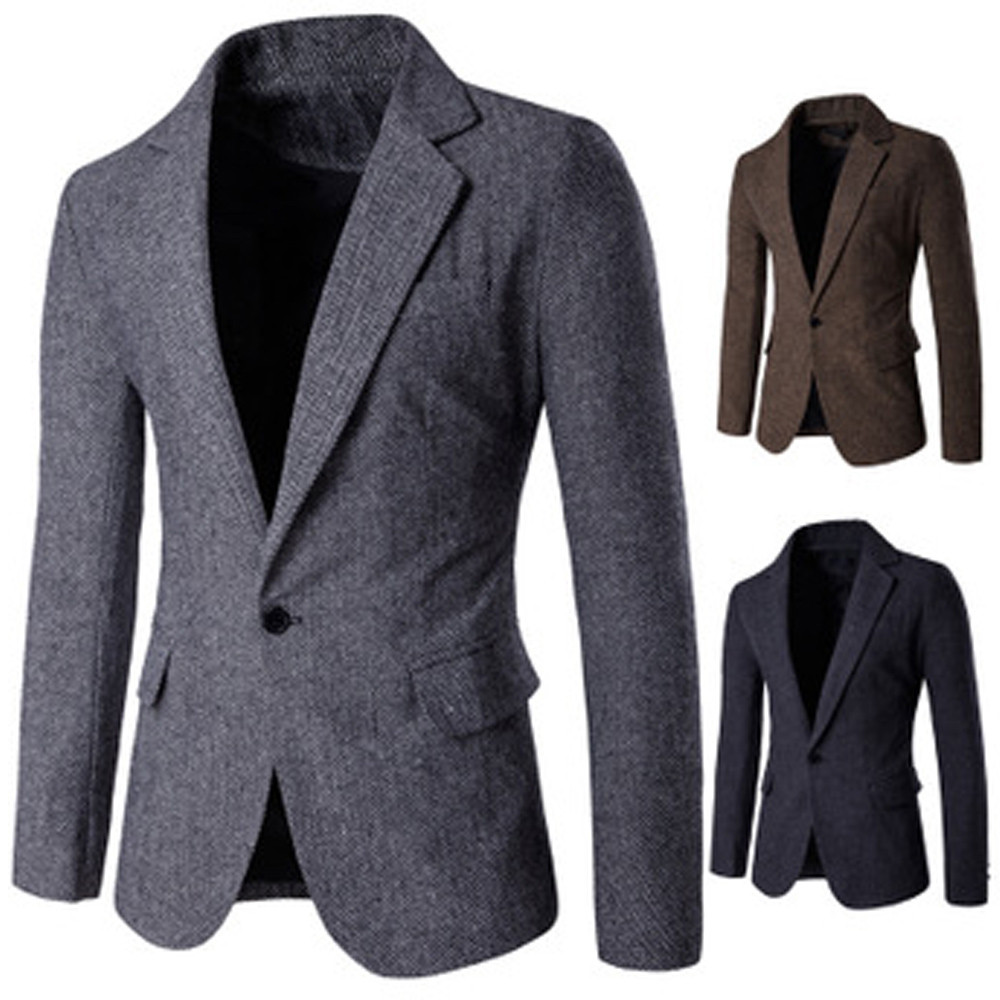 Men's Casual Fashion Pure Color Single Button Long Sleeve Suit Jacket Coat Offices Classic Suit Formal Jacket Man L15#