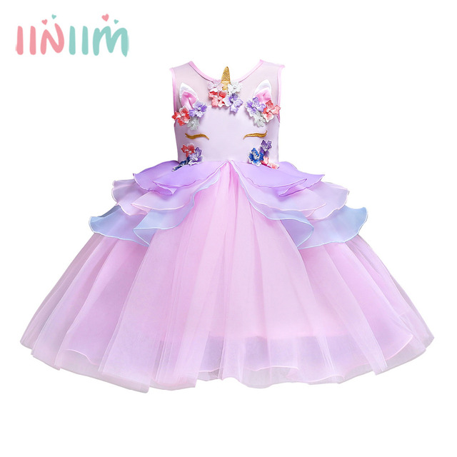 49db90df8 iiniim Girls Sleeveless Splice Pearls Flowers Applique Princess ...