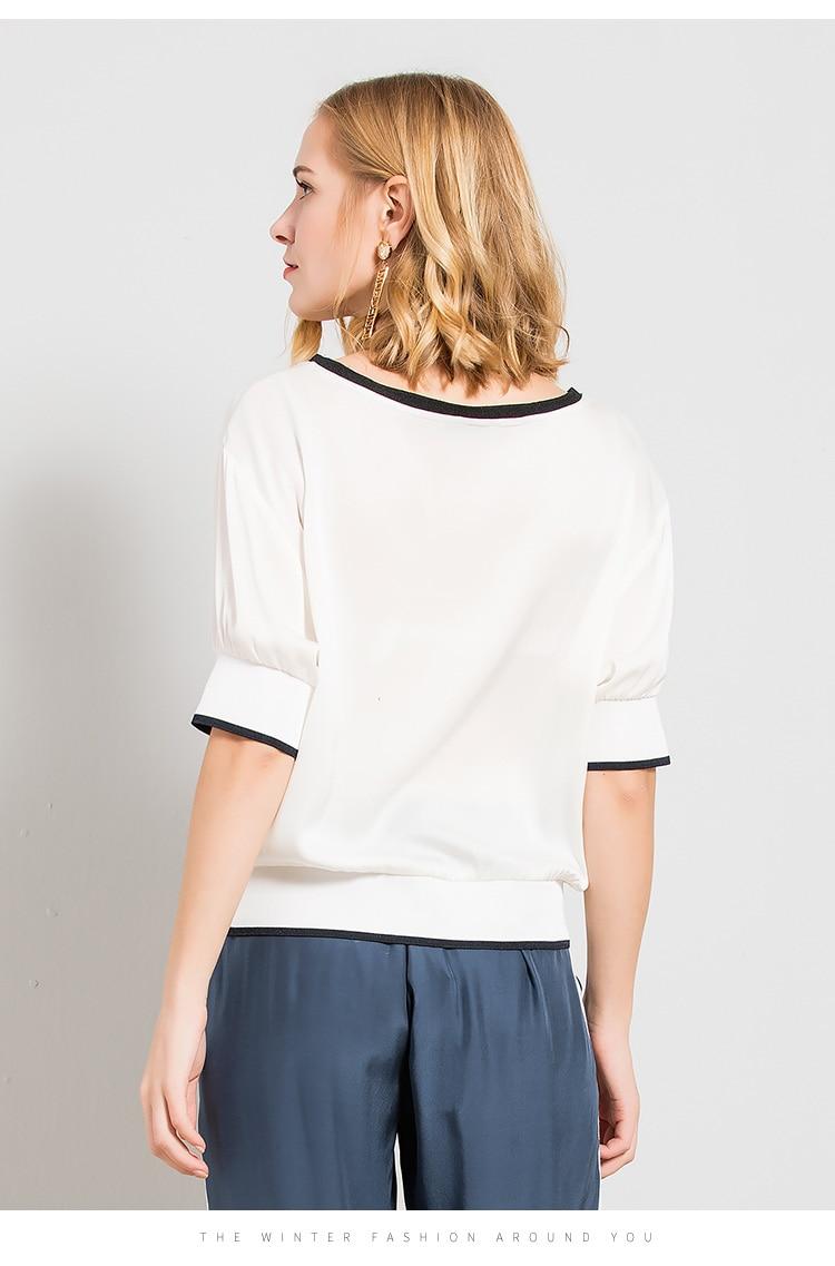 Lose Weiße Neue End Picture 2018 Maulbeerseide Sommer Color Kurze shirt Seide Weibliche Ärmeln Kleidung T Kurzen Farbe High Frauen 5Hp8xq7ww