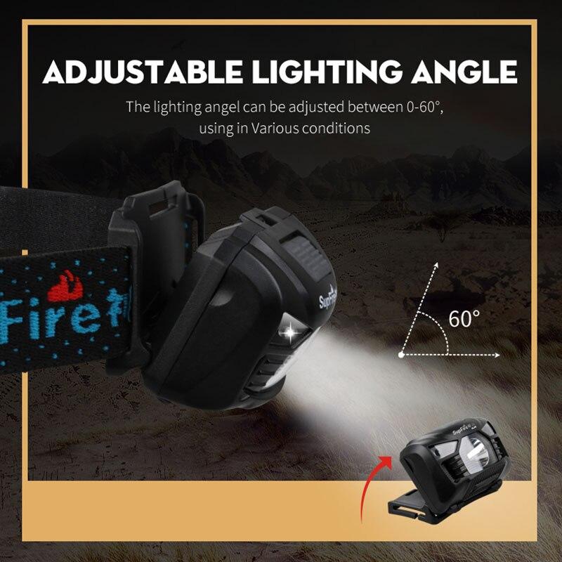 Headlight Supfire Headlamp HL06 Flashlight Fishing Head Lamp USB Frontale Linterna LED Cabeza Head Flash Light Hoofdlamp S018