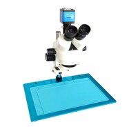 7 45X simul фокусным расстоянием тринокуляр стерео микроскоп + 13MP VGA HDMI цифровой микроскоп камера + алюминиевая пайки микроскоп Таблица