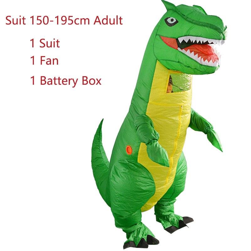 Redelijk Groen T-rex Cartoon Kostuum Inflables Dinosaurus Dier Jumpsuit Volwassen Vrouwen Mannen Cosplay Halloween Carnaval Kerst Kostuums Superieure Prestatie