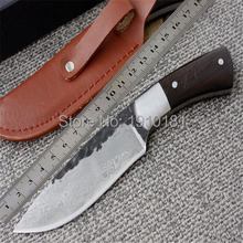 Straight Handmade forged Damascus Steel  hunting knife fixed blade knife 58HRC ebony handle free shipping