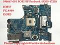 Оригинальный ноутбук материнская плата для HP Probook 4520 S 4720 S 598667-001 48.4GK06.0SD PGA989 HM57 DDR3 Полностью протестированы