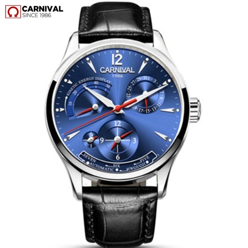 Karneváli energia kijelző automatikus mechanikus órák Férfi Luxus márka Watch férfi óra katonai valódi bőr szíj montre saat
