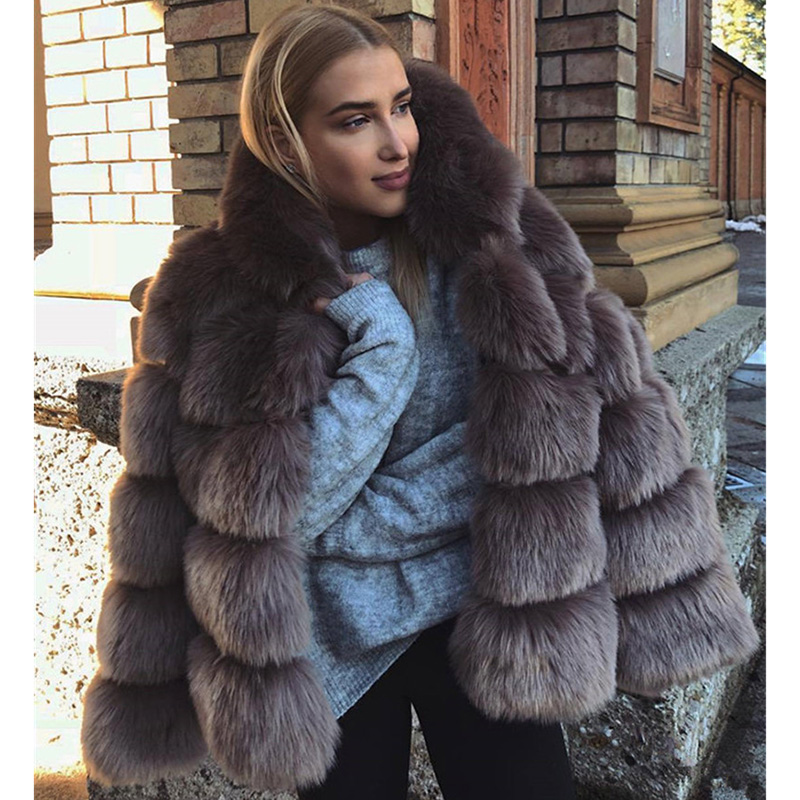 Women Warm 65Percent Fox Fur Coat Short Slim Winter Genuine Fur Jacket Fashion Outwear Luxury Natural Fox Fur Coat For Girls