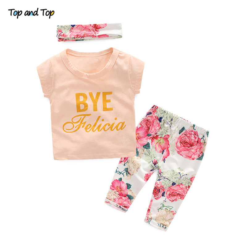 Baby-Girl Headband Tops Leggings Short-Sleeve Toddler Cute Summer Print Pants