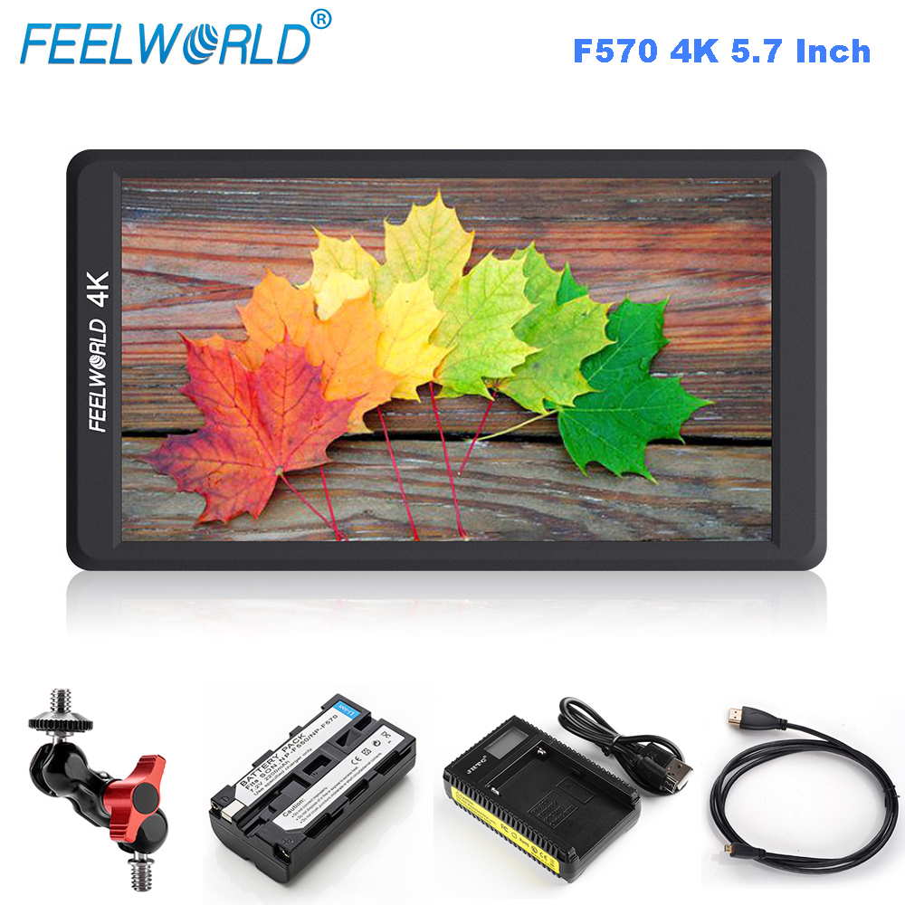 Feelworld F570 5.7 IPS Full HD 1920x1080 4K On-camera Field Monitor with HDMI Input Mount Stablizer Battery for DSLR Gimbal