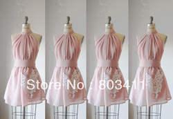 Бесплатная доставка; милые индивидуальный заказ Аппликация шифоновое платье для подружки невесты