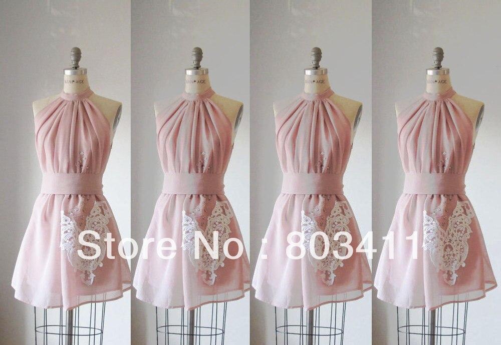 Livraison gratuite douce robes de demoiselle d'honneur en mousseline de soie appliquées sur mesure