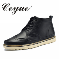 Ceyue 2017 Designer Brogue Leather Shoes Men Handmade Oxford High Top Flat Heels Men Casual Shoes