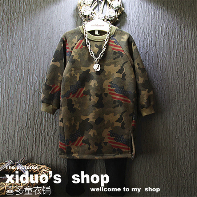 retail new 2015 autumn winter cool Camouflage long girls hooded fashion kids clothes suit 2~7 age toddler infants girls hooded