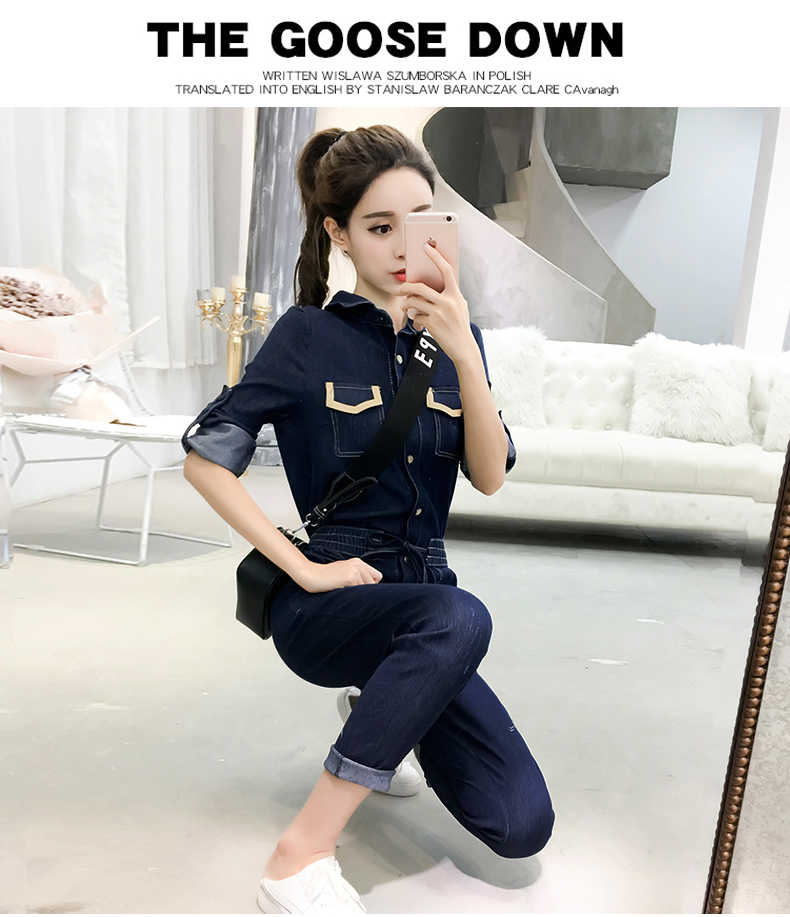 Autumn Jumpsuits Casual Jeans For Women Patchwork One Piece Pants Pockets Bodysuit Women Combinaison Femme Overalls Female 11