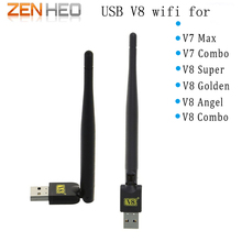 10 PCS trabalho para V7 V8 USB wi-fi Sem Fio com Antena V8 super V8 série Ouro digital via satélite 150 M USB Receptor Wi-fi sem fio