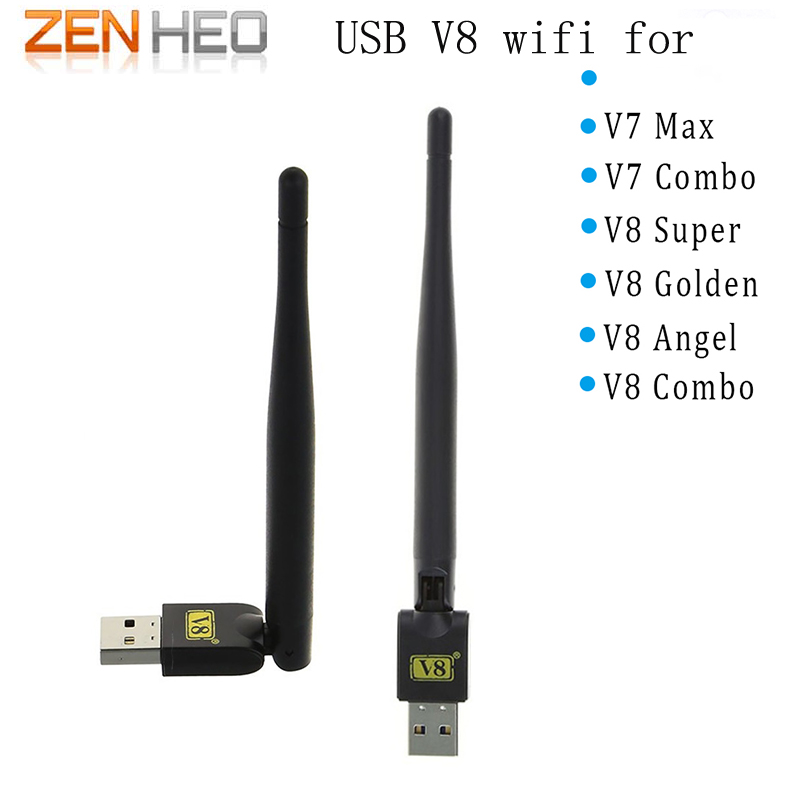10 STÜCKE V8 USB wifi Wireless mit Antenne arbeit für V7 V8 super V8 Goldene serie digital satellite 150 Mt USB WiFi Empfänger drahtlose
