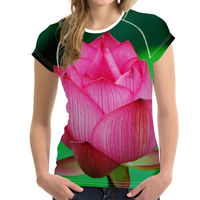 FORUDESIGNS Summer Lotus Print T-shirt 3D Floral Water Lily Tee Shirts for Women Girls T Shirts Female Short Sleeve Elastic Tees