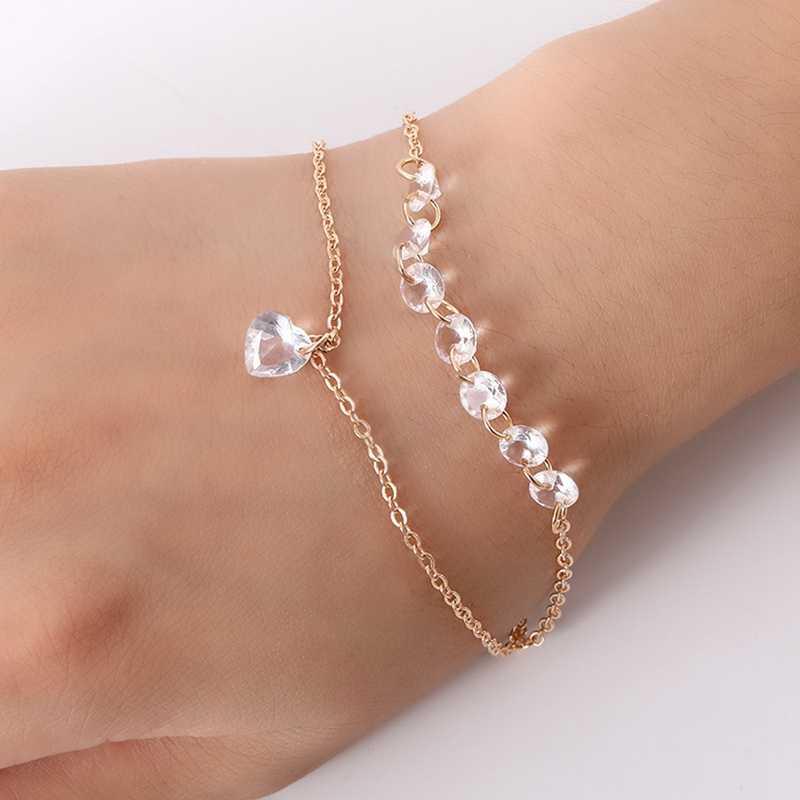 Fashion Double Jantung Crystal Gelang Wanita Pertunangan Pernikahan Gelang Tali Merah Walnut Musim Semi Musim Panas Pantai Pesta Perhiasan Keren
