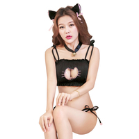 f2bbd65db232 DOMI Women Kawaii Underwear Sexy Lingerie Cartoon Cute Lolita Cat Collar  Pierced Bra Brief Set Lovely. DOMI de las mujeres, Kawaii ropa interior ...