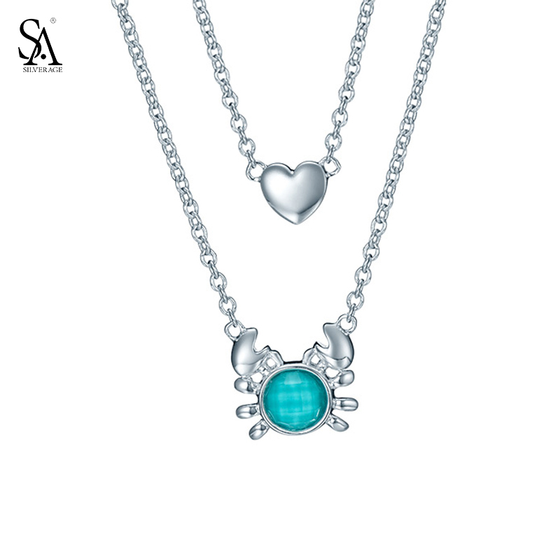 SA SILVERAGE Genuine 925 Sterling Silver Fine Jewelry Blue Crab Heart Two Layered Pendant Chain Necklace Women New Top Quality rhinestone metal heart bar layered pendant necklace